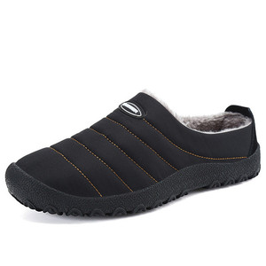 Image 1 - Winter Men Shoes Plush Men Slippers Fleece Warm Fur Thicken Cotton Padded Home Slipper Indoor Flat Shoes Plus Size Flip Flops
