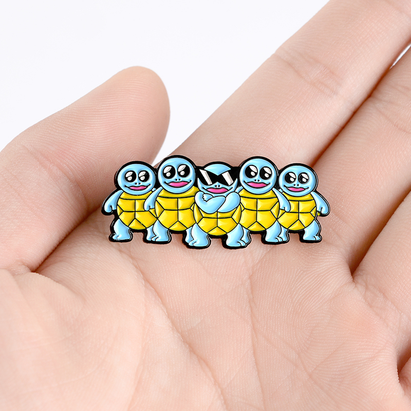 Blue Tortoise Enamel Pins Custom Cool Sunglasses Turtle Brooch Lapel Pin Bag Badge Childhood Animal Jewelry Gift Kids Friends 3