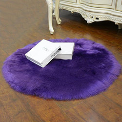 BESTfaux kożuch wełniany dywan 30x30 cm puszysty miękki longhair dekoracyjny dywan poduszka krzesło sofa mat (okrągły fioletowy)