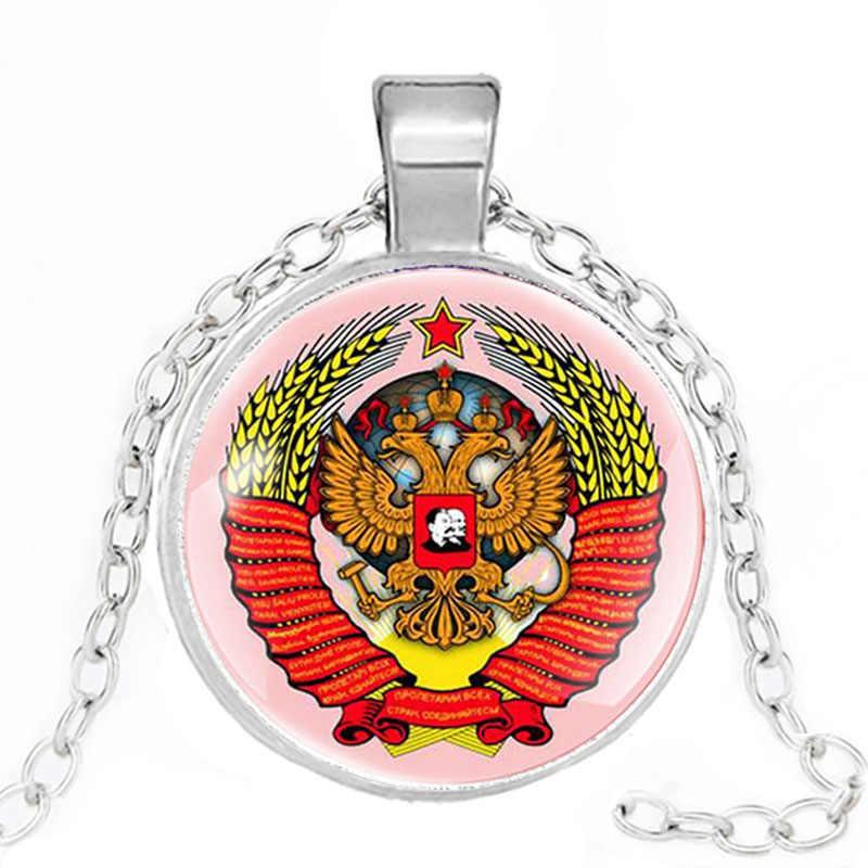Klassische UDSSR Sowjetische Abzeichen Halsketten Sichel Hammer CCCP Russland Emblem Kommunismus Halsketten Geschenke Kragen Schmuck