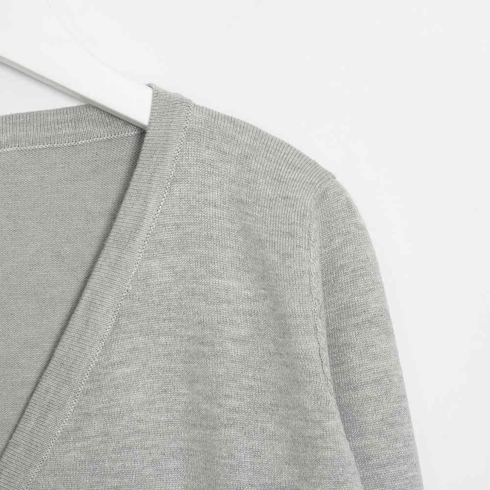 Jersey de punto sólido de mujer Wixra Otoño Invierno básico Casual cuello en V de manga larga de punto de ganchillo suéter abrigo de mujer Tops