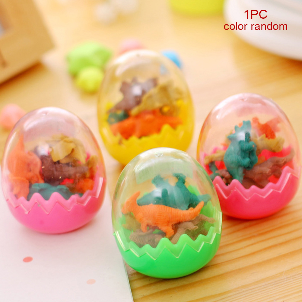 7Pcs/set Pencil Cartoon Kids Gift Box Eraser Supplies Rubber Cute School Office Stationery Funny Dinosaur-egg Random Color