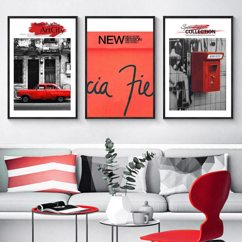 Scandinavian Retro Black White Architectural Wall Art Poster Red