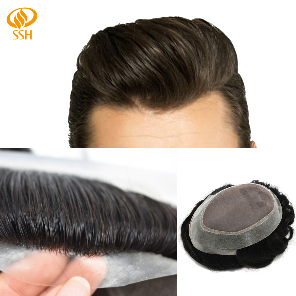 SSH Human Hair Fine Mono Durable Mens Toupee Poly Around Remy Hairpieces PU Wig Black Color