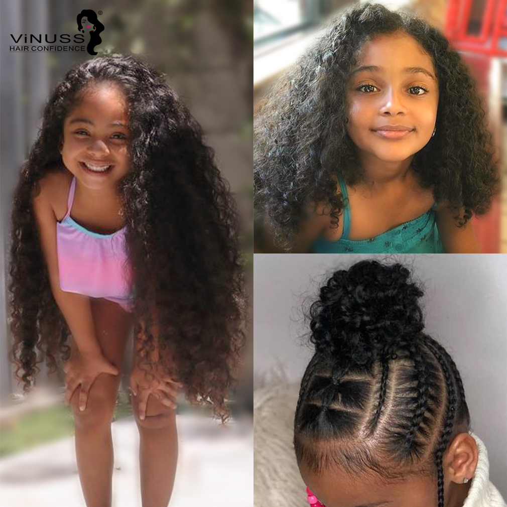 Customized Kids Human Hair Wig Lace Front Human Hair Wigs Kids Wig 360 Lace Frontal Wig  Pre Plucked Glueless Curly Wig For Kids