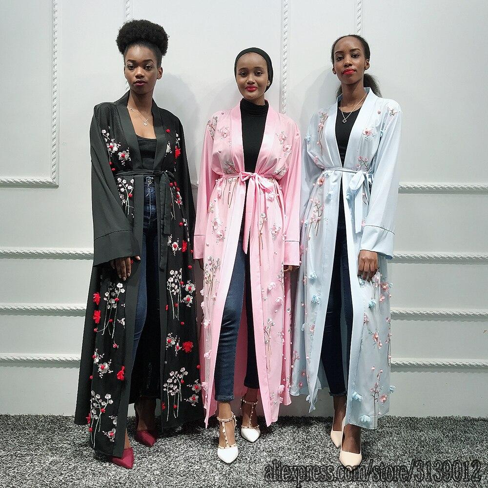 Abaya kimono turco hijab muçulmano vestido africano