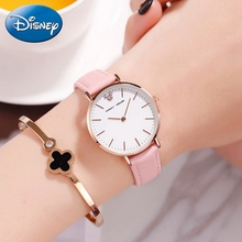 Mickey Mouse Lady Fashion Trendy Luxury Bling Crystal Disney Women's Quartz Watch Girls Leather Waterproof Watches Cute Clocks