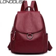 حقيبة ظهر للنساء من الجلد بطراز ياباني من LONOOLISA 2019 حقيبة ظهر للسيدات حقيبة ظهر للسفر حقائب مدرسية للمراهقات كيس دوس