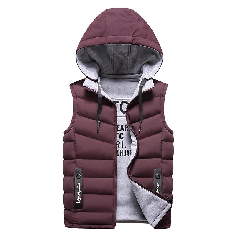 2020 Men Winter Vest Men Casual Waistcoat Sleeveless Jackets Men Hooded Vest Detachable Hat Outwear YJJ10