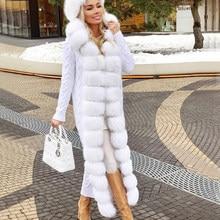 Camisola de pele de raposa camisola de pele natural longo 120-125cm comprimento feminino casaco de pele de raposa real