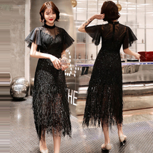 Dress Women Prom  High Collar Sequins Gala Gown Elegant 2019 Black Sexy Slim Short Sleeve Plus Size Robe Roiree E554