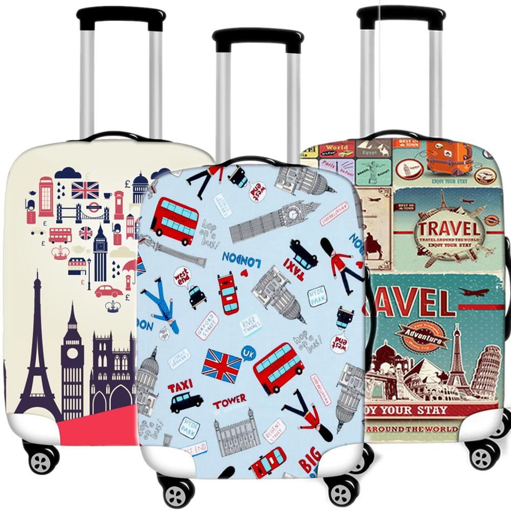 Fashion Eiffel Tower Luggage Case Protective Cover Waterproof Thicken Elastic Suitcase Case 18-32 Inch XL Travel Accessories