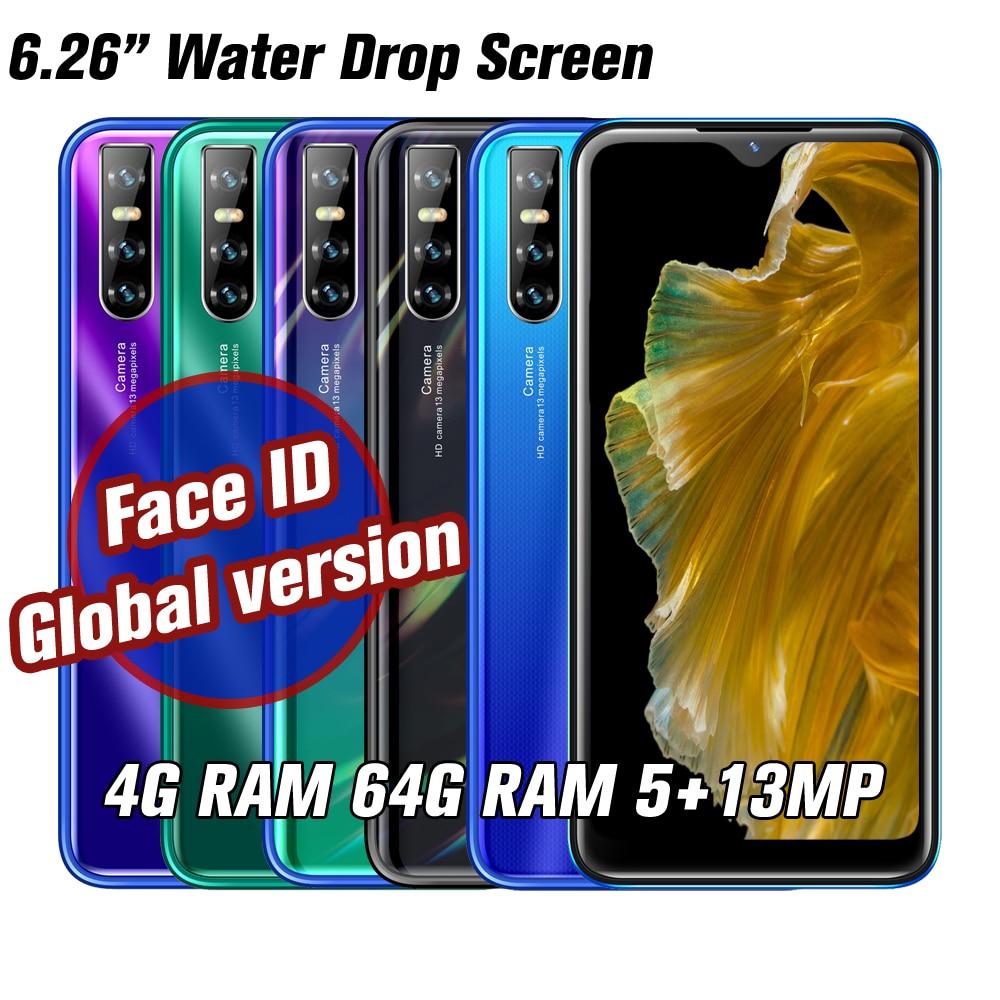 Note9 4 Гб ОЗУ 64 Гб ПЗУ 13 МП большой экран четырехъядерный процессор 6,26 ''распознавание лица разблокированные смартфоны Android Мобильные телефоны...
