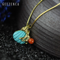 925 Sterling Silver Natural Turquoise Shell Pendant Necklace Fine Jewelry Women Designer Trendy Gold Plated Necklace Party Gift