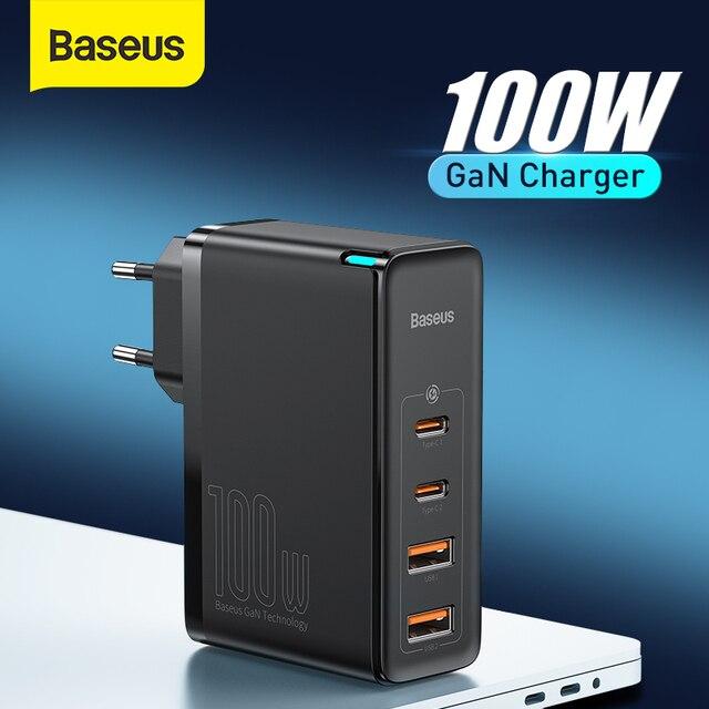 Baseus MacBook,ラップトップ,スマートフォン用の高速USB充電器,100W,4.0 USB電話充電器,急速充電3.0