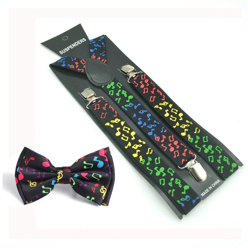 Women Men Music Note Suspender Bow Tie Set Y-Shape Braces Butterfly Sets Bowtie Suspender Formal Dress Gift Gallus Pants Holder