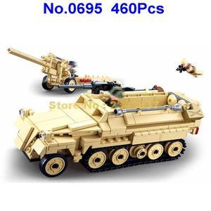 Image 2 - sluban 0695 460pcs military k18 105mm cannon artillery half track vehicle ww2 world war ii building blocks 3 figures Toy