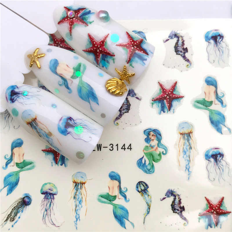 Nail Sticker Nail Art Nail Art Decoraties Nail Accesoires 2020 City Night Feather Maple Seahorse Halloween Groen Blad