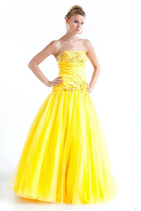 Free Shipping Cheap Robe De Soiree Fashion Vestido De Festa Longo Yellow Crystal Party Ball Gown Quinceanera Bridesmaid Dresses