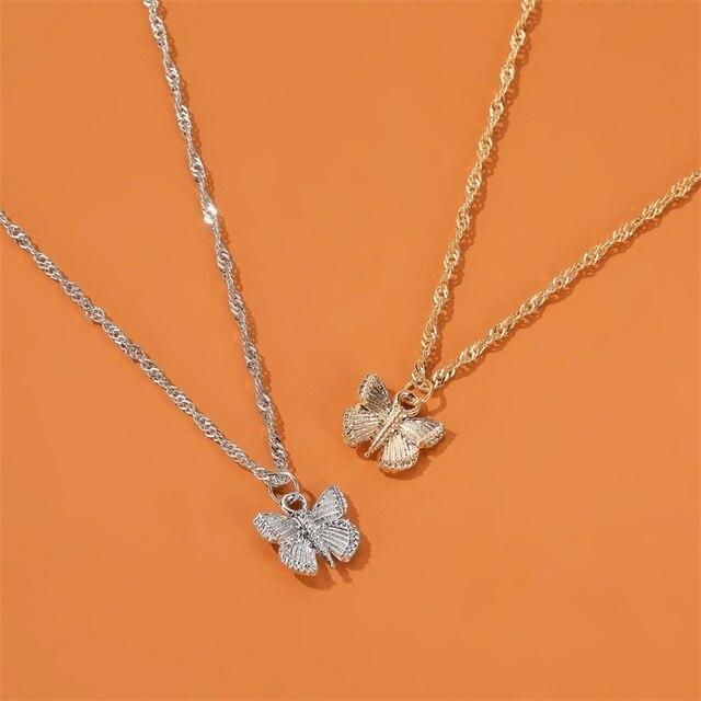 Collier de papillon coréen pour femmes, collier acrylique coloré danimaux, petit bijou pour filles, nouvelle collection 2020