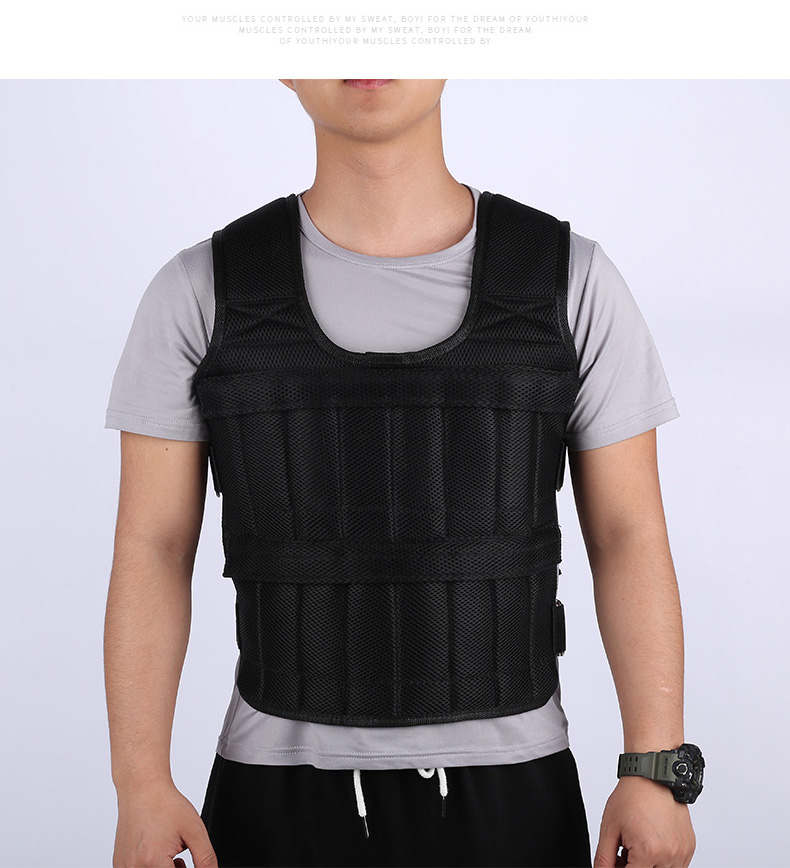 30KG Loading Weight Vest For Boxing Weight Training Workout Fitness Gym Equipment Adjustable Waistcoat Jacket Sand Clothing 5