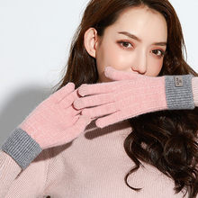 Women Knitted Crochet Gloves Winter Female Thermal Cotton Gloves Ladies Cute Phone Touch Screen Thicken Cycling Gloves guante(China)