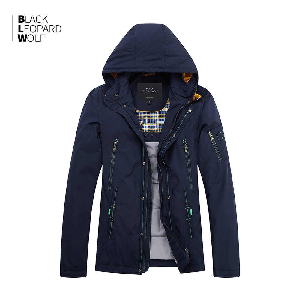 Blackleopardwolf 2019 Baru Jaket Musim Dingin Pria Top Hitam Warna Katun Tipis Jaket Pria Merek Mens Fashion MC-17108
