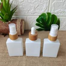Makeup Essential Oil Packaging Perfume Bottle With Bamboo Wood Lid Color Glass Bottles Spray Cosmetic Containers Dropper Bottles(China)
