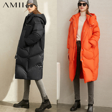 Down-Coat Jacket Female Amii Winter Women Hooded Duck Long 90%White Fashion Casual Solid