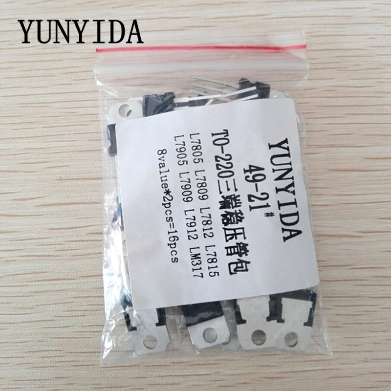Free Shopping 8 Kinds*2 PCS=16pcs 7805 7809 7812 7815 7905 7912 7915 LM317 To-220 Transistor Kit