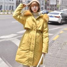 Solid Fur Hooded Long Winter Cotton Coats Women Casual Loose Plus Size Jackets Coats Korean Female Thicken Warm Parka Feminina цена в Москве и Питере