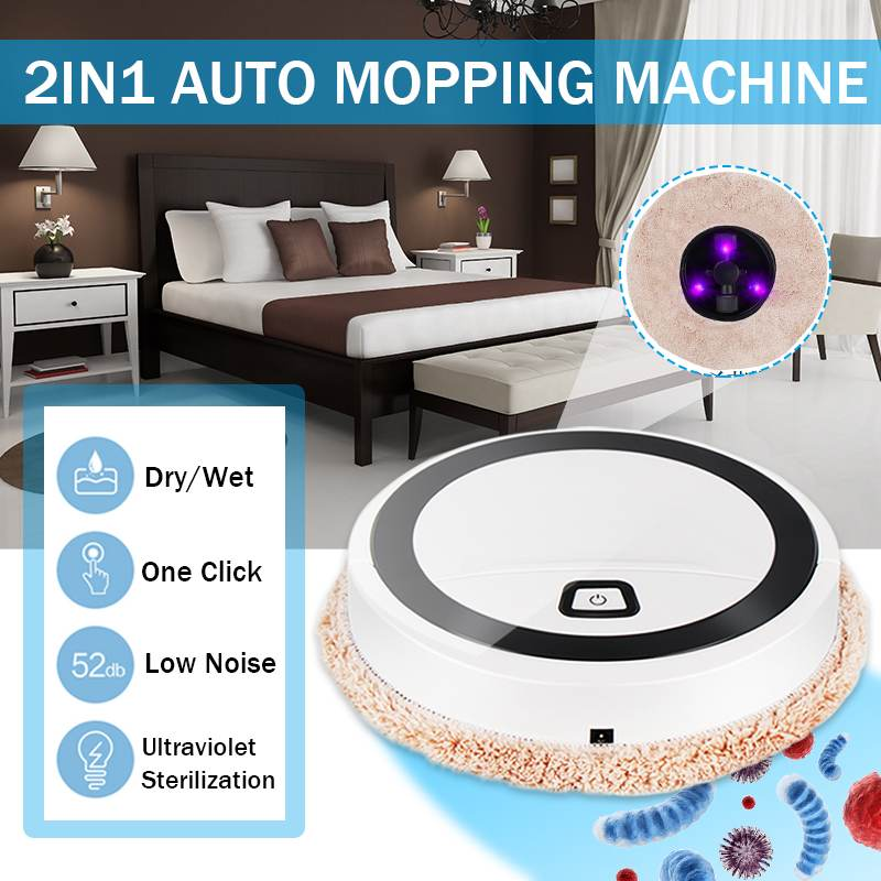 4W Intelligent Sweeping Robot Floor Washing Wiping Mopping Machine Wet/Dry Cleaner Rotating Walking Smart Sweeper Home Cleaning
