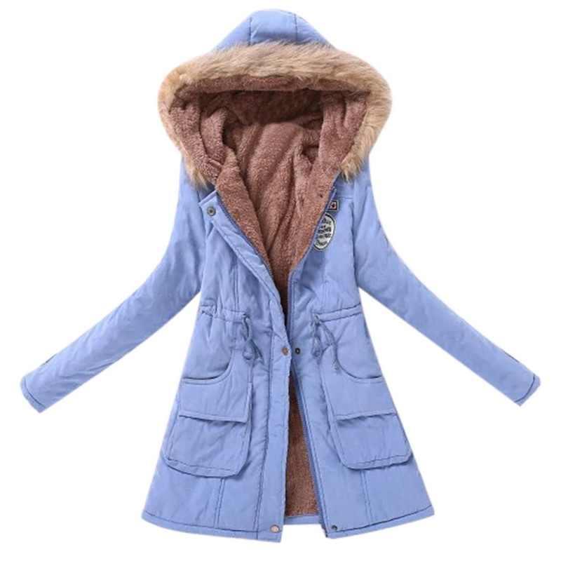 2019 女性パーカー暖かいジャケット冬の毛皮の襟コートオフィスの女性の綿プラスサイズのファッション暖かい女性ロングパーカーパーカージャケット