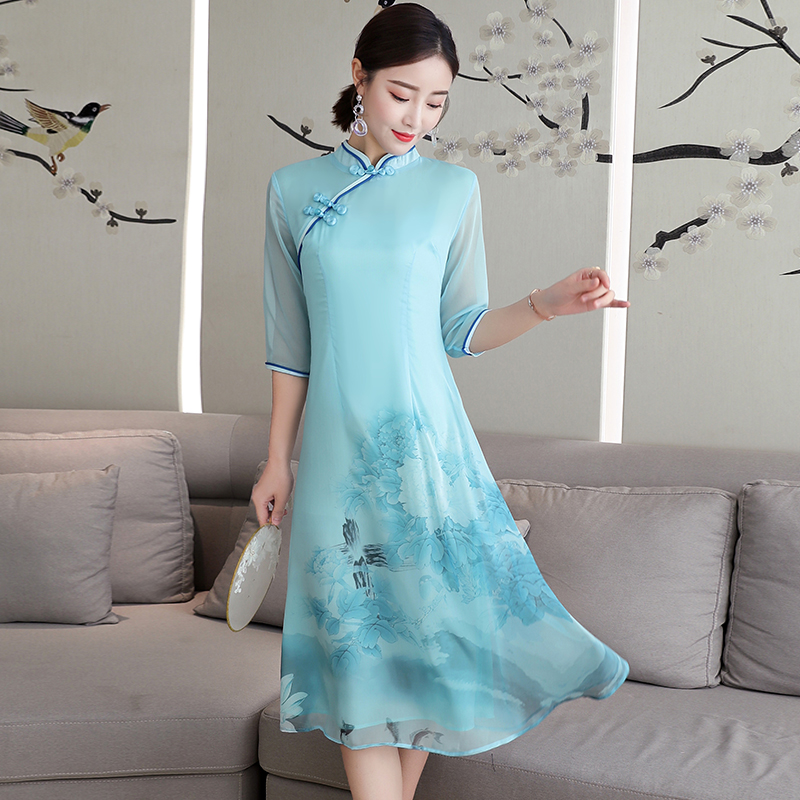 2020 Cheongsam For Women Traditional Chinese Dress Female Party Dress Qipao Dress Elegant Vintage Oriental Style Evening Gown
