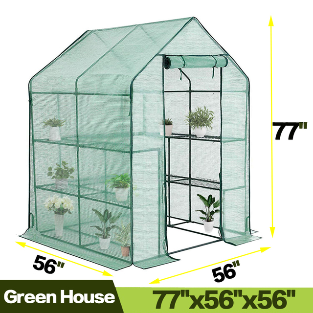 AULAYSED Walk-in Greenhouse PE Cloth Cover Garden House Succulent Plants Flowers Green Plant Insulation Family (143x143x195CM)
