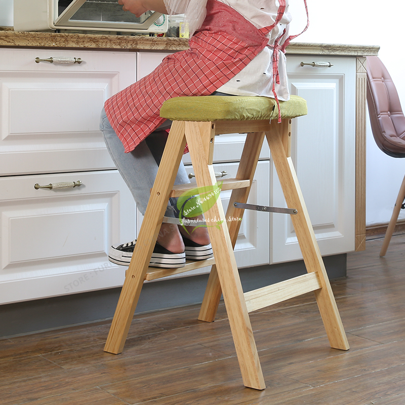 Modern Simplicity Solid Wood Foldable Step Stool Firm And Strong Bench Household Kitchen High Step Stool Bearing 100KG
