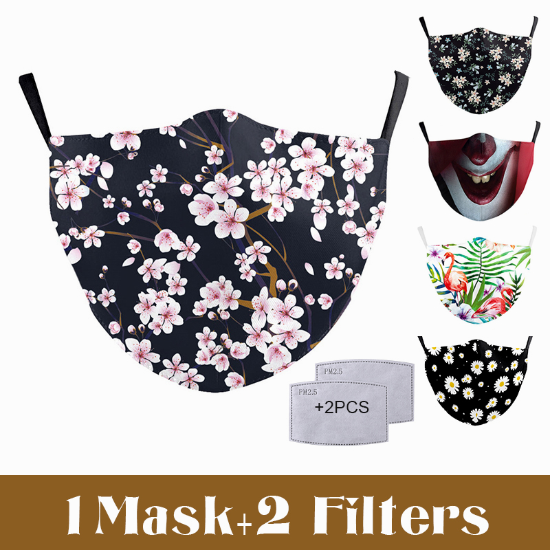 Flamingo Flower Face Mask Aztec Printed Masks Fabric Adult Protective PM 2.5 Dust Mouth Cover Washable Reusable Mouth Mask