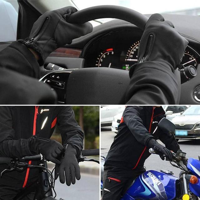 перчатки для мотокросса флисовые ветрозащитные и теплые сенсорные фотография
