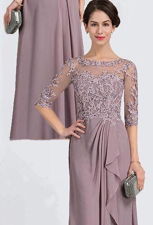 Mother Of The Bride Elegant Half Sleeve Lace Evening Dress Plus Size Wedding