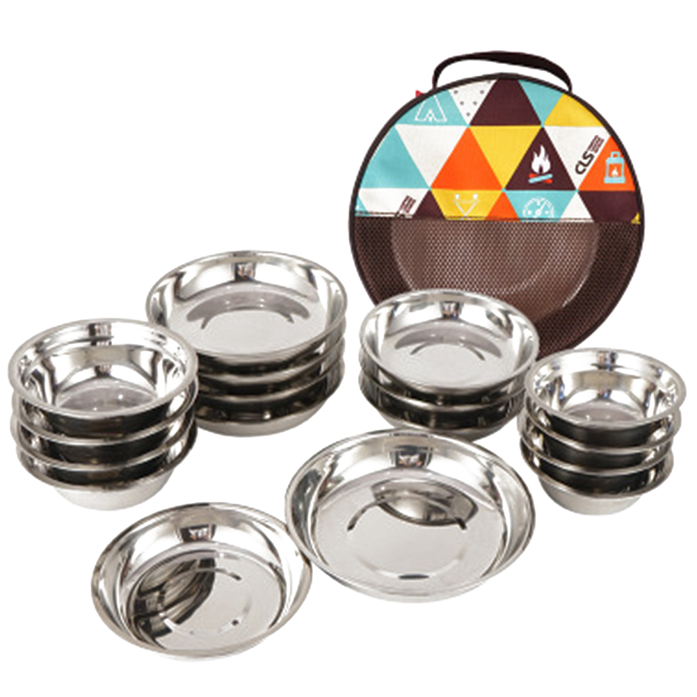 1 Set of 17Pcs Camping Mess Kit Outdoor Tableware Stainless Steel Plate Bowl with Storage Bag for Camping