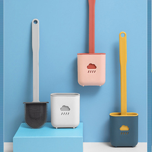 Silikon Wc Pinsel Wc reiniger wc pinsel mit halter Flache Kopf Flexible Weiche Borsten Pinsel Bad Zubehör Lücke Reinigung