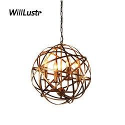 Retro Industrial Pendant Lamp Loft Globe Suspension Light Hotel Restaurant Dinning Room Bar Store Bronze Black Iron Lighting