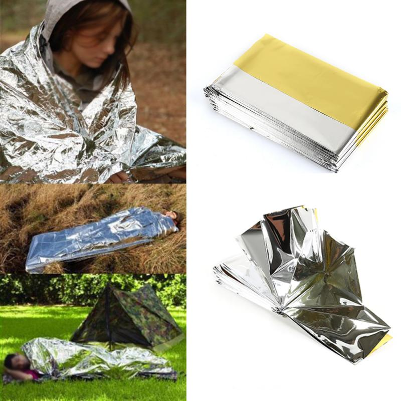 140cmx210cm Gold And Silver Two-color Emergency Blanket Outdoor Waterproof Emergency Survival Rescue Blanket Lifesave Blanket