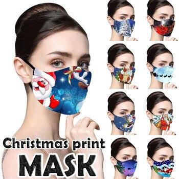 Christmas Mask Santa Elk Print Breathable Mascarillas Face Cover Mask  Reusable mask for face fashion Christmas Shield Masque cartoon elk print christmas tee
