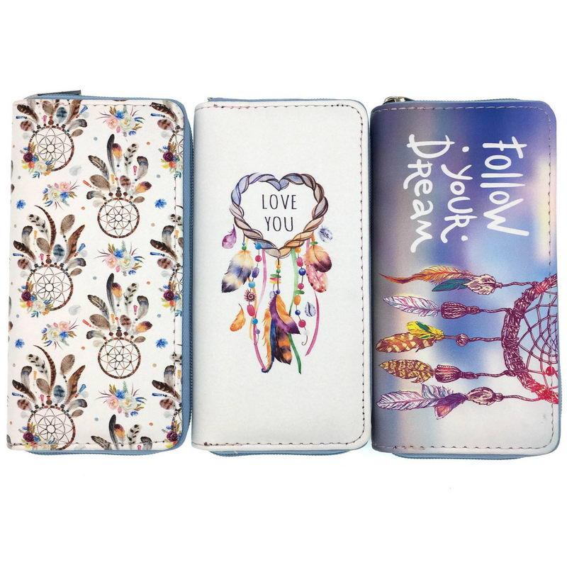 KANDRA New Dreamcatcher Print Women's Wallet And Purses Zip Around Travel Vegan Wallet Slim Female Card Holder Coin Pocket
