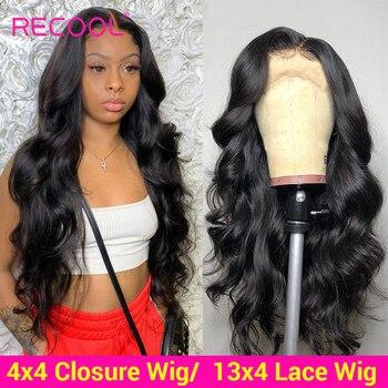 Recool brazylijski peruka Body Wave ludzki włos koronki przodu peruki 180 200 gęstości 360 czołowa koronki peruka 4x4 zamknięcie koronki peruki z ludzkich włosów