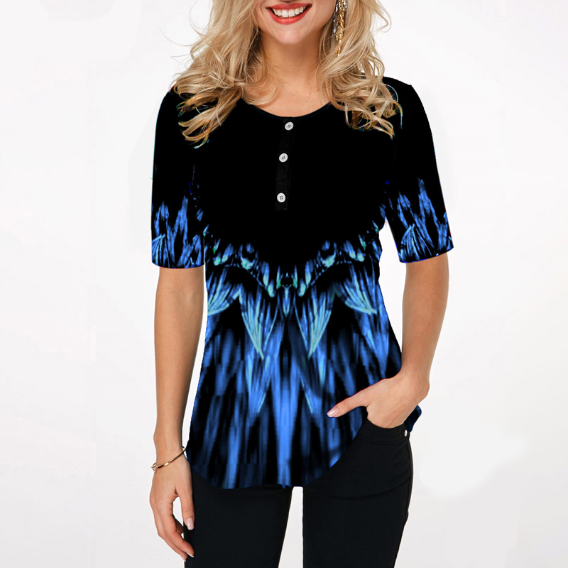 Women Fashion Print Tops Round Neck Short Sleeve Boho Blouse Shirts 2020 New Summer Female Casual Loose Shirt Plus Size 5xl