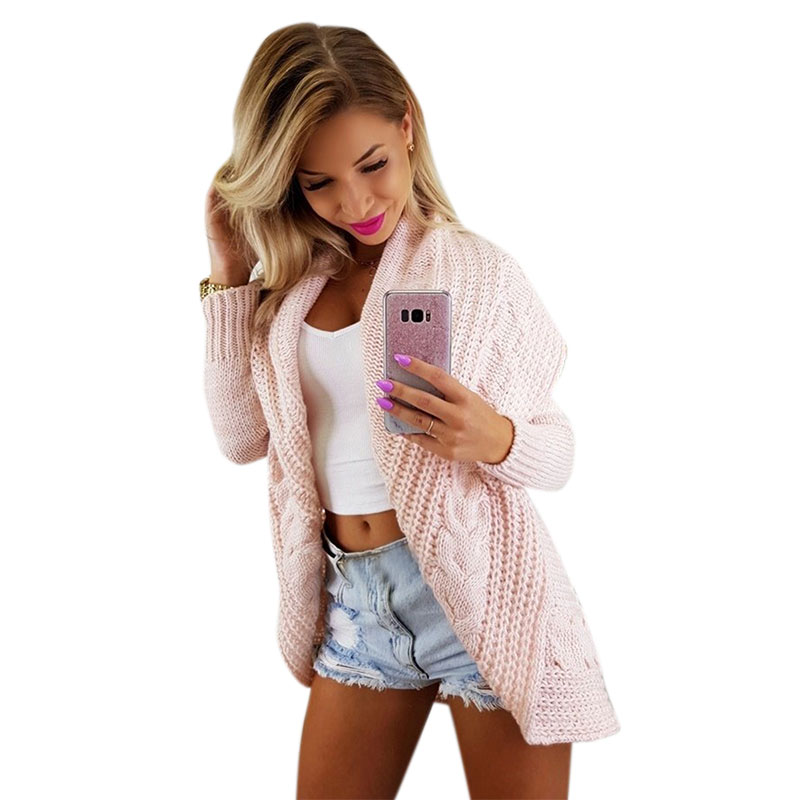 Vicabo Solid Color Twist Knitted Women Sweater Coat Female Long Sleeve Loose Casual Big Turn Down Collar Sweaters Thick Cardigan