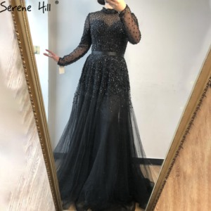 Image 5 - 穏やかな丘最新デザインブラックハイカラーイブニングドレスドレス 2020 ロングスリーブスパンコール高級セクシーなフォーマルなパーティーの摩耗ガウン CLA70066
