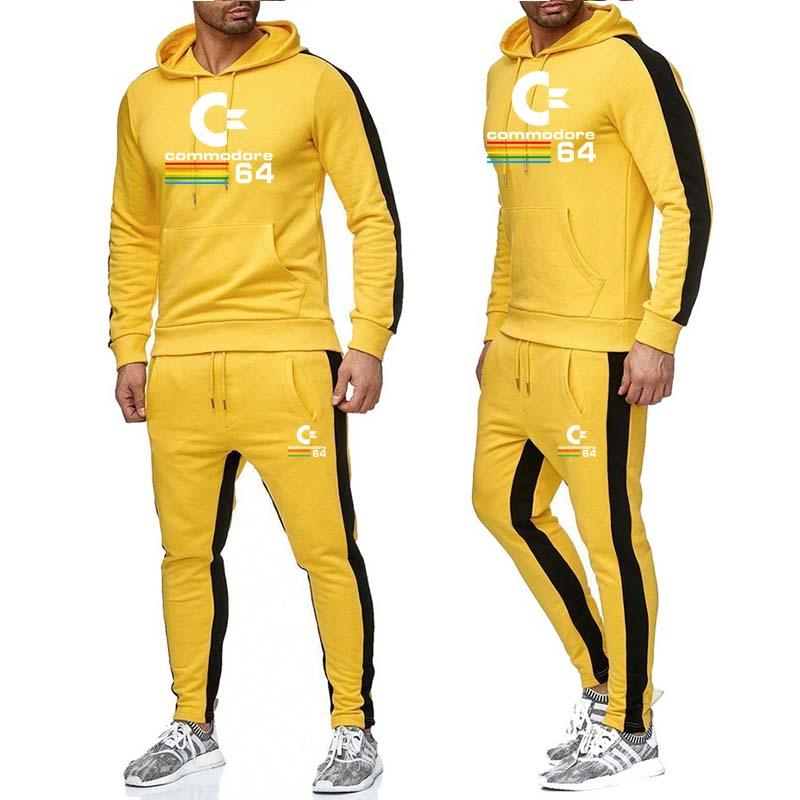 Causal Tracksuits Men Set hooded Thicken Fleece Hoodies + Sweatpant 2019 Winter Spring Sweatshirt Sportswear Male Letter Print